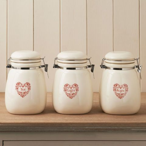 Cream Ceramic Tea Coffee Sugar Canisters Floral Hearts